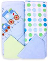 SpaSilk Baby Train/Dots 4-Piece Terry Hooded Towel and Washcloth Set in Blue