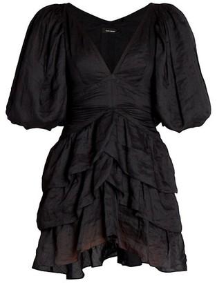 Isabel Marant Jaekia Ruffle Tiered Puff-Sleeve Dress