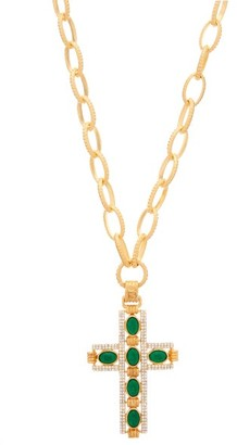 Gucci Crystal Cross Necklace - Womens - Green