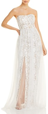 Aidan Mattox Adian by Strapless Embroidered Gown