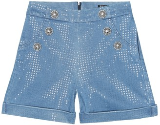 Balmain Kids Sequined denim shorts