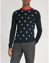 Gucci Bee and star-pattern wool jumper