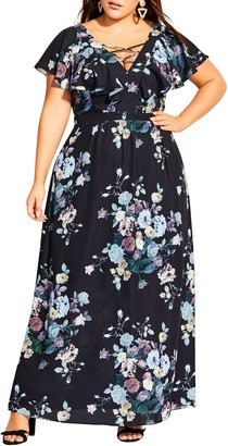 City Chic Flutter Sleeve Floral Print Maxi Dress
