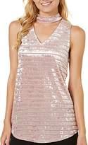 Amy Byer A. Byer Junior's Sleeveless Stripe Velvet Top