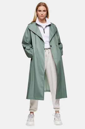 Topshop Womens Sage Pleated Back Trench - Sage