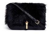 Elizabeth and James 'Cynnie' fur flap leather crossbody bag