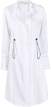 Off-White Drawstring Striped Shirt Dress