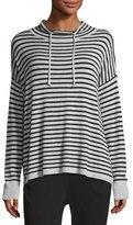 Eileen Fisher Lightweight Striped Funnel-Neck Top