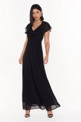 Nasty Gal Womens Make a Night of It Ruffle Maxi Dress - black - 8