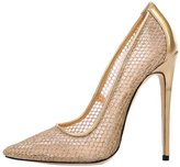 Guoar Women's Stiletto Heel Sandals Big Size Shoes Pointed Toe Mesh Patent Pumps for Wedding Party Dress Gold US9
