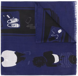 Paul Smith Frayed Printed Scarf