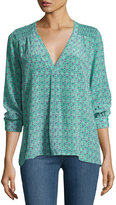 Joie Aceline Floral-Print Silk Top, Green