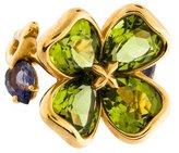 Chanel 18K Peridot & Iolite Clover Flower Ring