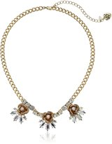 "Betsey Johnson Luminous Betsey"" Glitter Rose and Faceted Stone Cluster Necklace, 16"" + 3"" Extender"