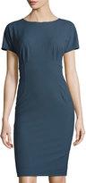 Lafayette 148 New York Marion Short-Sleeve Sheath Dress, Blue Storm