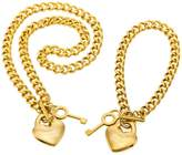 MeMeDIY 2PCS Tone Stainless Steel Pendant Necklace Bracelet Heart Key Set ,come with Chain - Customized Engraving
