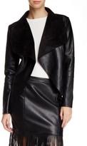 Bagatelle Drape Faux Leather & Faux Suede Jacket