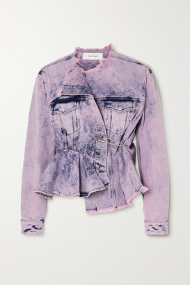 Marques Almeida Asymmetric Frayed Acid-wash Denim Jacket - Pink