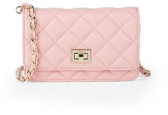 Saks Fifth Avenue Made In Italy Quilted Leather Crossbody Bag