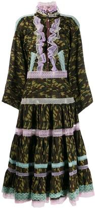 Natasha Zinko Camouflage-Print Ruffle Dress
