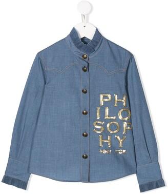 Philosophy Di Lorenzo Serafini Kids Sequinned-Logo Denim Shirt