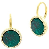 Freida Rothman Harmony Round Stone Drop Earrings in 14K Gold-Plated Sterling Silver