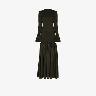 ESCVDO Tsuma smocked cotton maxi dress