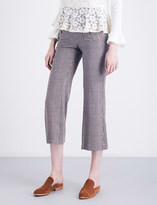 See by Chloe Houndstooth cropped high-rise wool-blend trousers