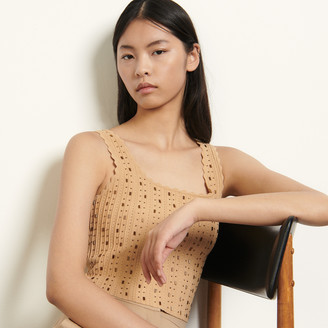 Sandro Knitted crop top with bead jewels