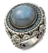 Stephen Dweck Amethyst, Garnet, 18K Gold & Sterling Silver Ring