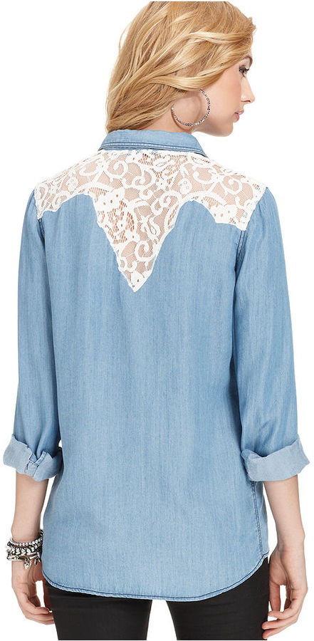 GUESS Top, Long-Sleeve Lace Denim Shirt