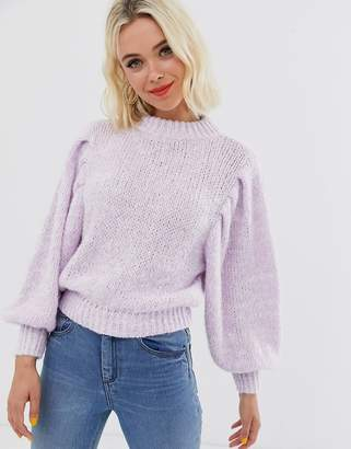 Asos Design DESIGN jumper in lofty yarn with volume sleeve-Purple
