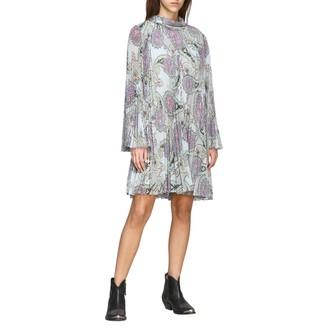 Etro Dress In Pleated Fabric With Paisley Print