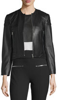 Rag & Bone Astor Leather Zip-Front Jacket, Black