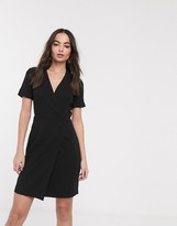 French Connection whisper ruth sleeve wrap dress in black