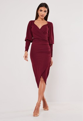 Missguided Recycled Petite Burgundy Ribbed Wrap Midi Dress