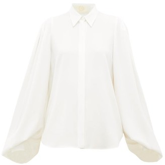 Sara Battaglia Balloon-sleeve Cady Blouse - Womens - Ivory
