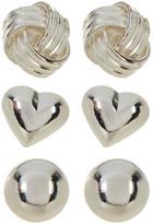 Argentovivo Sterling Silver Stud Earrings - Set of 3