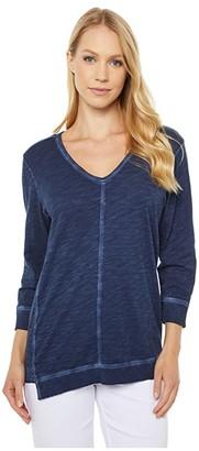 Elliott Lauren Enzyme Washed Jersey V-Neck 3/4 Sleeve with Asymmetrical Hem (Navy) Women's Clothing