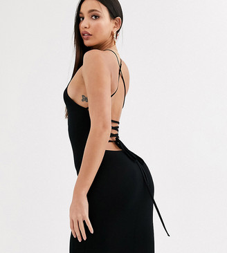 Asos Tall DESIGN Tall going out strappy back mini dress-Black