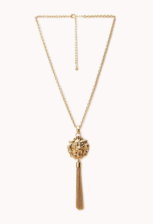 Forever 21 Tasseled Lion Necklace