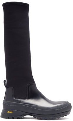 Jil Sander Leather And Scuba-jersey Boots - Black