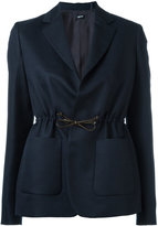 Jil Sander Navy drawstring fastening blazer - women - Polyester/Acetate/Cupro - 42
