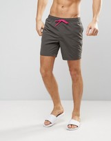 Asos Swim Shorts In Dark Gray With Neon Pink Drawcords In Mid Length