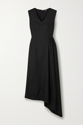 Adam Lippes Asymmetric Gathered Canvas Midi Dress - Black