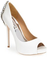 Badgley Mischka Women's 'Kiara' Crystal Back Open Toe Pump