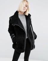 Asos Suede Aviator Jacket with Faux Shearling