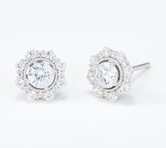Diamonique Floral Design Earrings, Sterling Silver