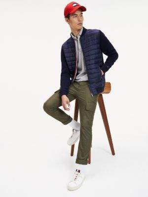 Tommy Hilfiger Mixed Fabric Zip-Thru Baseball Jacket