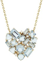 Suzanne Kalan Kalan By Mixed Blue Topaz and Diamond Heart Necklace - Yellow Gold